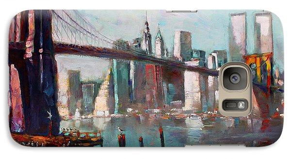 Brooklyn Bridge And Twin Towers Galaxy S7 Case by Ylli Haruni