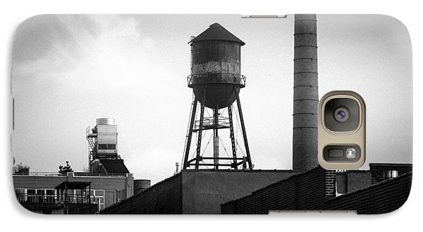 Galaxy Case featuring the photograph Brooklyn Water Tower And Smokestack - Black And White Industrial Chic by Gary Heller