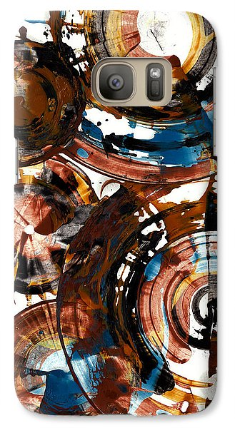 Galaxy Case featuring the painting Brown And Blue Spherical Joy - 992.042212 by Kris Haas