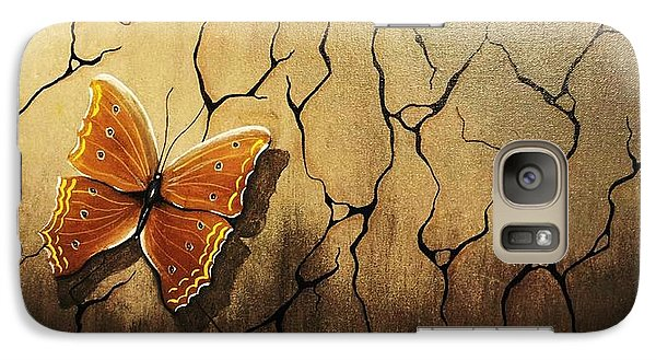 Galaxy Case featuring the painting Brown Butterfly by Edwin Alverio