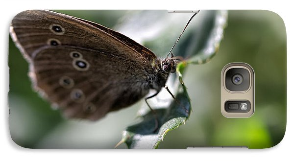 Galaxy Case featuring the photograph Brown Butterfly On Leaf by Leif Sohlman