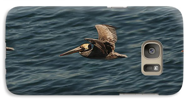Galaxy Case featuring the photograph Brown Pelican Flying Panorama by Lee Kirchhevel