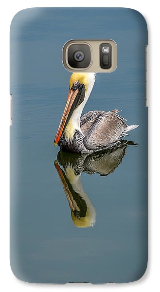 Galaxy Case featuring the photograph Brown Pelican Reflection by Debra Martz
