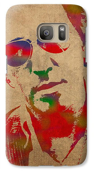 Bruce Springsteen Watercolor Portrait On Worn Distressed Canvas Galaxy S7 Case
