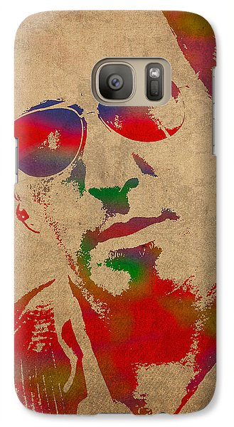 Musicians Galaxy S7 Case - Bruce Springsteen Watercolor Portrait On Worn Distressed Canvas by Design Turnpike