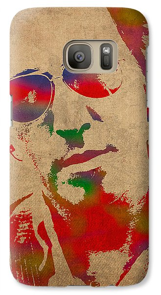 Bruce Springsteen Watercolor Portrait On Worn Distressed Canvas Galaxy Case by Design Turnpike