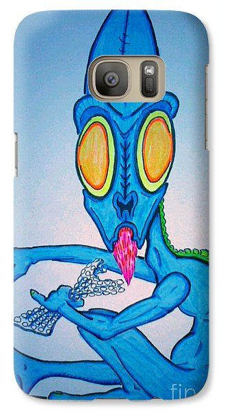 Galaxy Case featuring the drawing Bubble Wrap Monster by Justin Moore