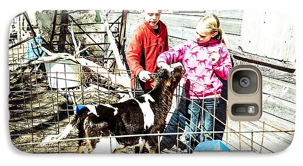 Galaxy Case featuring the photograph Bucket Calves And Kids by Shirley Heier