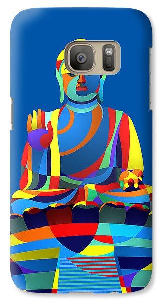 Galaxy Case featuring the digital art Buddha Blue by Randall Henrie