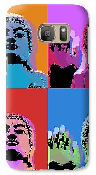 Galaxy Case featuring the digital art Buddha Pop Art - 4 Panels by Jean luc Comperat