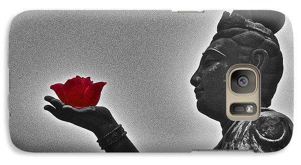 Galaxy Case featuring the photograph Buddha With Rose  by Sarah Mullin