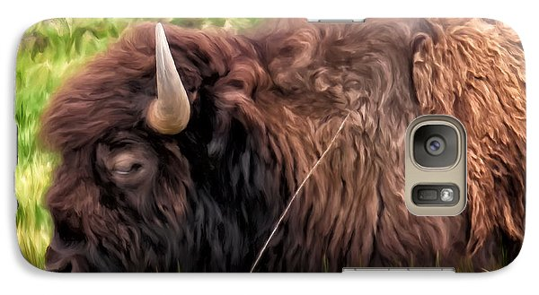 Galaxy Case featuring the painting Buffalo Cat Nap by Michael Pickett