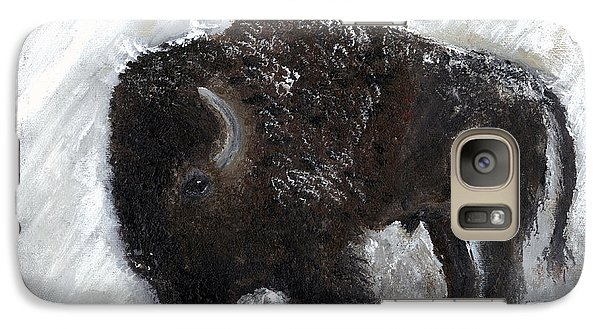 Galaxy Case featuring the painting Buffalo In The Snow by Barbie Batson