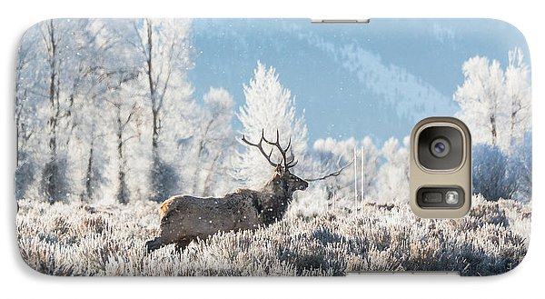 Galaxy Case featuring the photograph Bull Elk At Winter Dawn by Yeates Photography