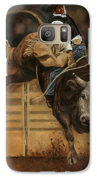 Bull Riding 1 Galaxy Case by Don  Langeneckert