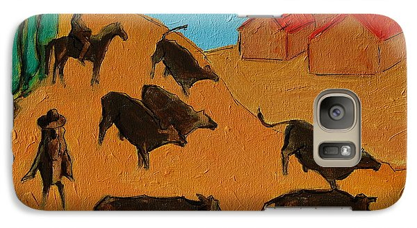 Galaxy Case featuring the painting Bulls On The Run With Two Riders 2 by Thomas Bertram POOLE