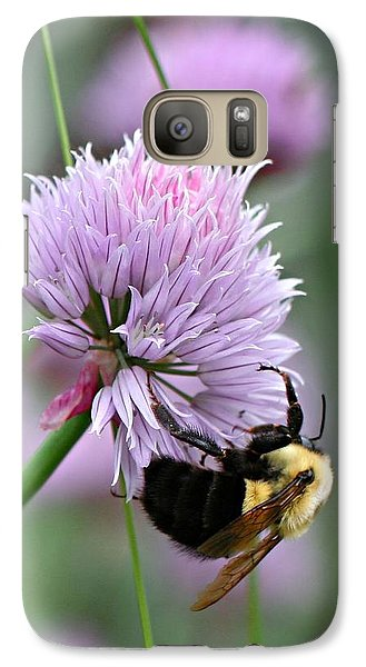 Galaxy Case featuring the photograph Bumblebee On Clover by Barbara McMahon