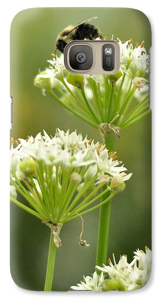 Galaxy Case featuring the photograph Bumblebee On Garlic Chives by Rebecca Sherman