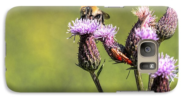 Galaxy Case featuring the photograph Bumblebee On Thistl by Leif Sohlman