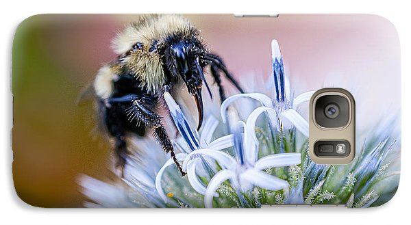 Galaxy Case featuring the photograph Bumblebee On Thistle Blossom by Marty Saccone