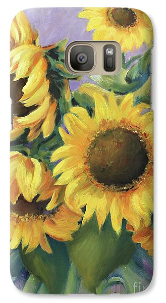 Galaxy Case featuring the painting Bunch Of Sunflowers by Marta Styk