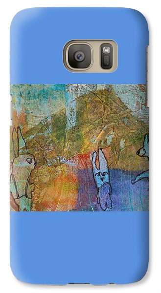 Galaxy Case featuring the mixed media Bunny Ballet by Catherine Redmayne