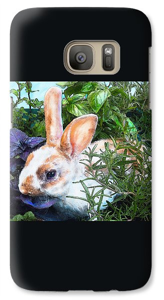Galaxy Case featuring the digital art Bunny In The Herb Garden by Jane Schnetlage
