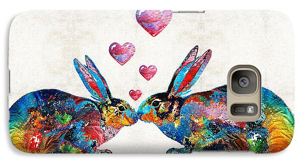Bunny Rabbit Art - Hopped Up On Love - By Sharon Cummings Galaxy Case by Sharon Cummings