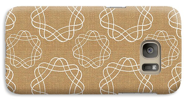 Burlap And White Geometric Flowers Galaxy Case by Linda Woods