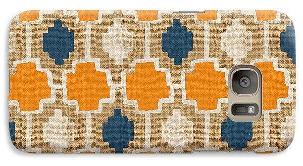 Burlap Blue And Orange Design Galaxy S7 Case by Linda Woods