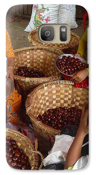 Galaxy Case featuring the photograph Burmese Ladies Sorting Water Chestnuts Zay Cho Street Market 29th Street Mandalay Burma by Ralph A  Ledergerber-Photography