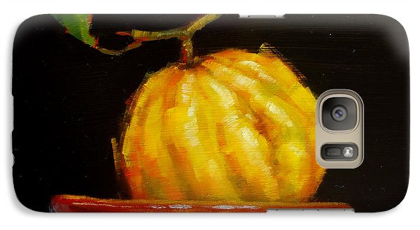 Galaxy Case featuring the painting Bush Lemon In Black by Margaret Stockdale