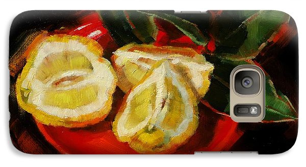 Galaxy Case featuring the painting Bush Lemon Sliced by Margaret Stockdale