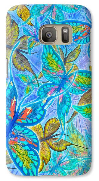 Galaxy Case featuring the mixed media Butterflies On Blue by Teresa Ascone