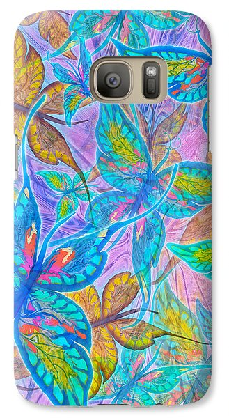 Galaxy Case featuring the mixed media Butterflies On Lilac by Teresa Ascone