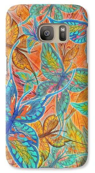 Galaxy Case featuring the painting Butterflies On Tangerine by Teresa Ascone