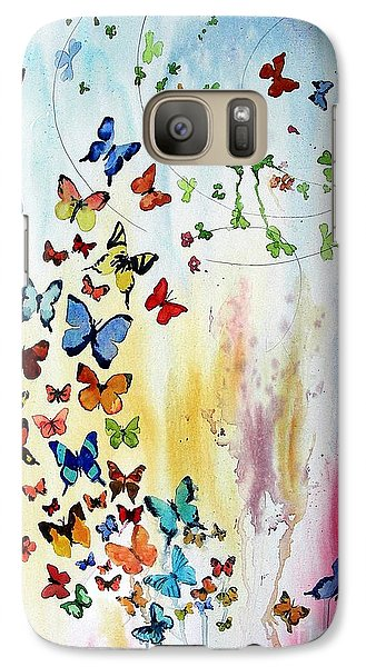 Galaxy Case featuring the painting Butterflies by Tom Riggs