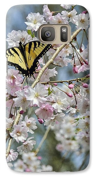 Galaxy Case featuring the photograph Butterfly And Blooms by Kenny Francis