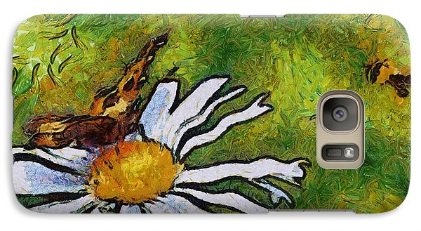 Galaxy Case featuring the painting Butterfly And Flower by Georgi Dimitrov