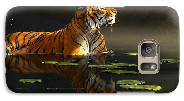 Tiger Galaxy S7 Case - Butterfly Contemplation by Aaron Blaise