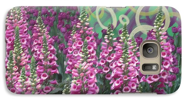 Galaxy Case featuring the photograph Butterfly Garden Purple White Flowers Painted Wall by Navin Joshi