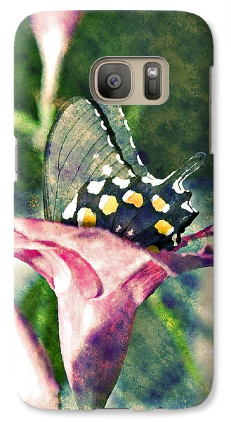 Galaxy Case featuring the photograph Butterfly In Flower by Susan Leggett