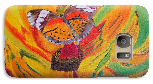 Galaxy Case featuring the painting Butterfly Jungle by Meryl Goudey