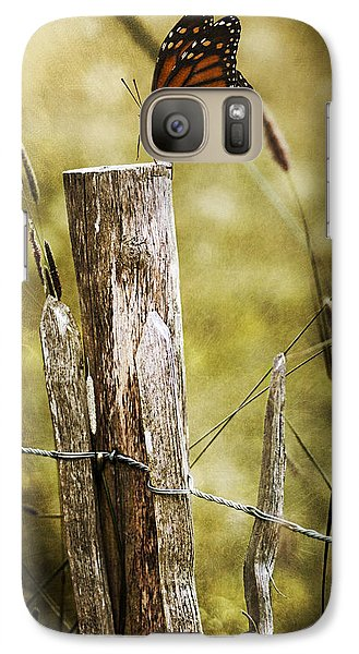 Galaxy Case featuring the photograph Butterfly On A Fence by Ethiriel  Photography