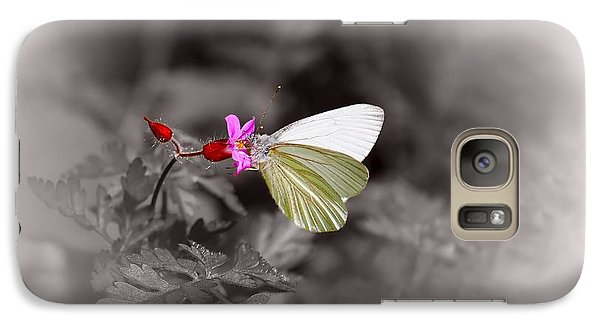 Galaxy Case featuring the photograph Butterfly On A Pink Flower by Tracie Kaska