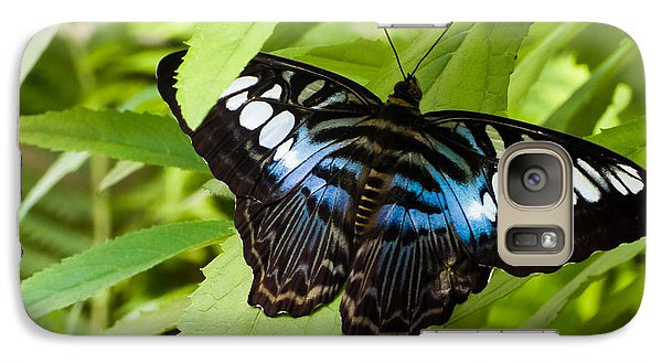 Galaxy Case featuring the photograph Butterfly On Leaf   by Lars Lentz