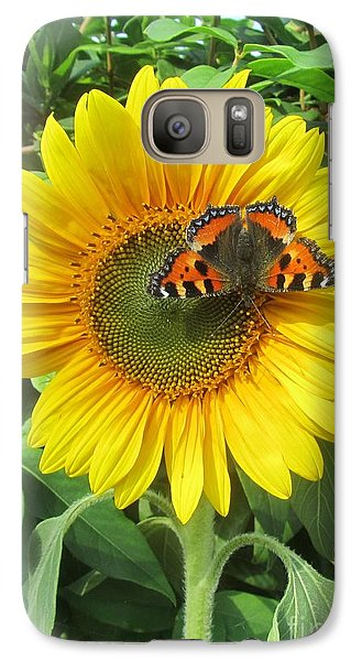 Galaxy Case featuring the photograph Butterfly On Sunflower by Jeepee Aero