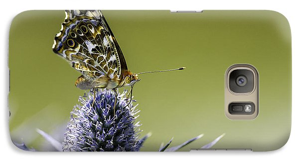 Galaxy Case featuring the photograph Butterfly On Thistle by Peter v Quenter