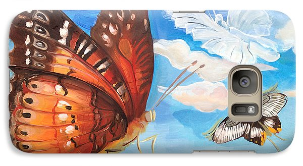 Galaxy Case featuring the painting Butterfly Paysage 2 by Art Ina Pavelescu