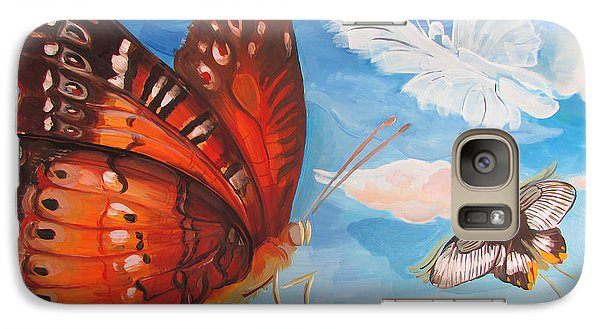 Galaxy Case featuring the painting Butterfly Paysage 5 by Art Ina Pavelescu